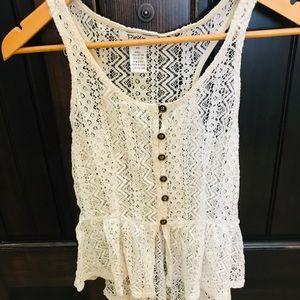 Tops - Ivory Crochet Sleeveless Peplum Top Size xs